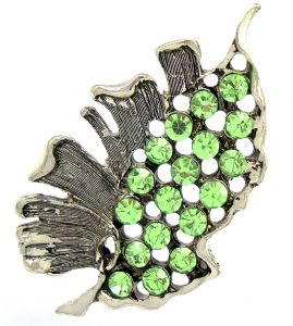 Vintage Style - Highly Decorative - Green Diamante Leaf Brooch / Pin